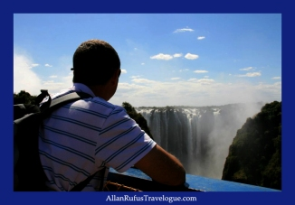 On the bridge between Zambia and Zimbabwe looking at Victoria Falls (Mosi-oa-Tunya)