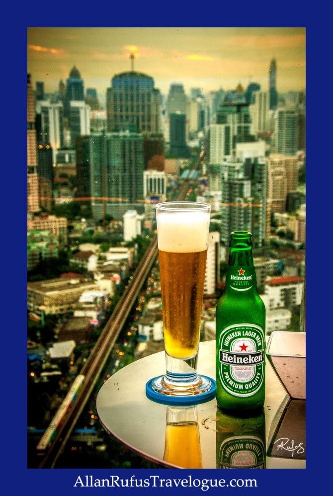 Heineken beer and a view of Bangkok