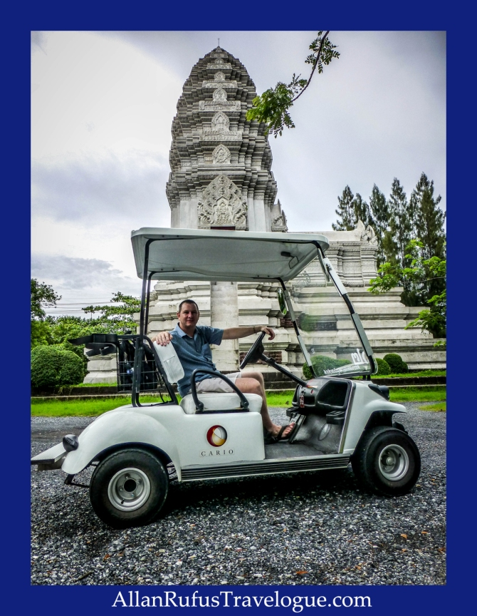 Allan Rufus travelling around The Ancient city by golf cart