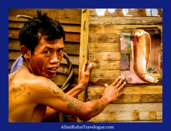 Street Photography - A Thai man and a picture of a cobra!