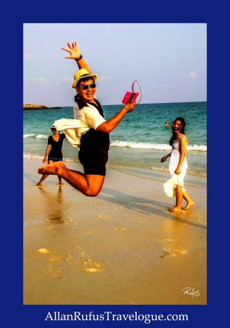 Street Photography -Thai man jumping for joy on Koh Samet island!