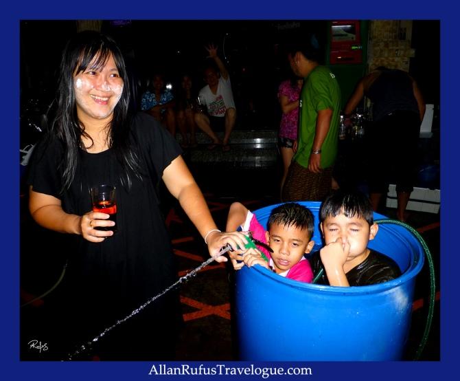 Street Photography -  Happy Songkran Thailand - Kids in a drum!