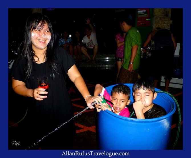 Street Photography -  Happy Songkran Thailand - Kids in a drum!