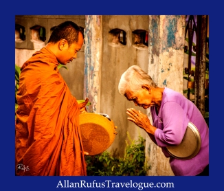Street Photography -A Monk on his alms walk giving a blessing!